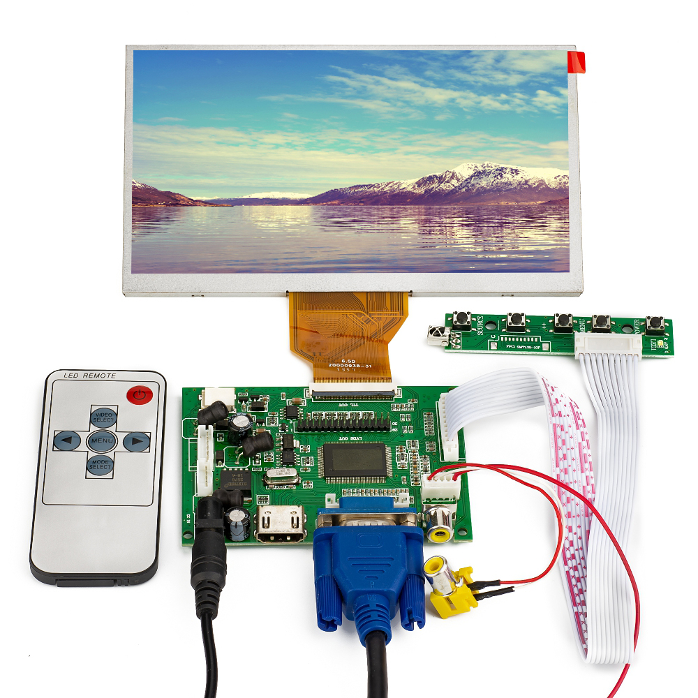 6.5lcd Monitor 800x480 Display For Car Reversing Hdmi Vga Av 5-24v Power Supply With Remote Control For Raspberry Pie Activating Blood Circulation And Strengthening Sinews And Bones Led Displays Optoelectronic Displays