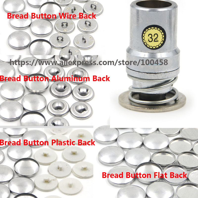32L19.5mm Fabric Self Covered Button Component with Die Tool Metal Bread Top Flat Plastic Ring/Aluminum Back DIY Handmade Button