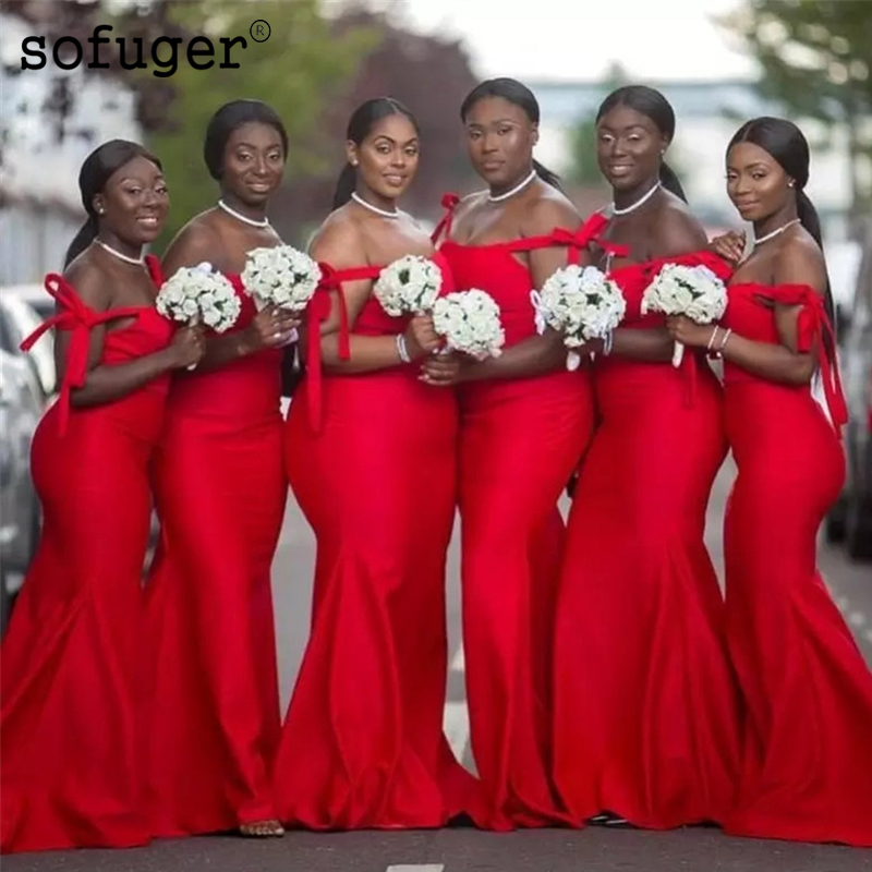 Red Sexy Sweetheart Satin Off The Shoulder Special Occasion   Bridesmaid     Dresses   Formal Vestidos Wedding Party   Dresses
