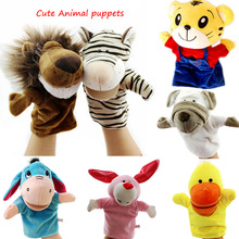 Glove Dolls Hand puppets toy Parent-child for kids girl boy mouth open animal puppet Tiger Horse lion duck animal puppet