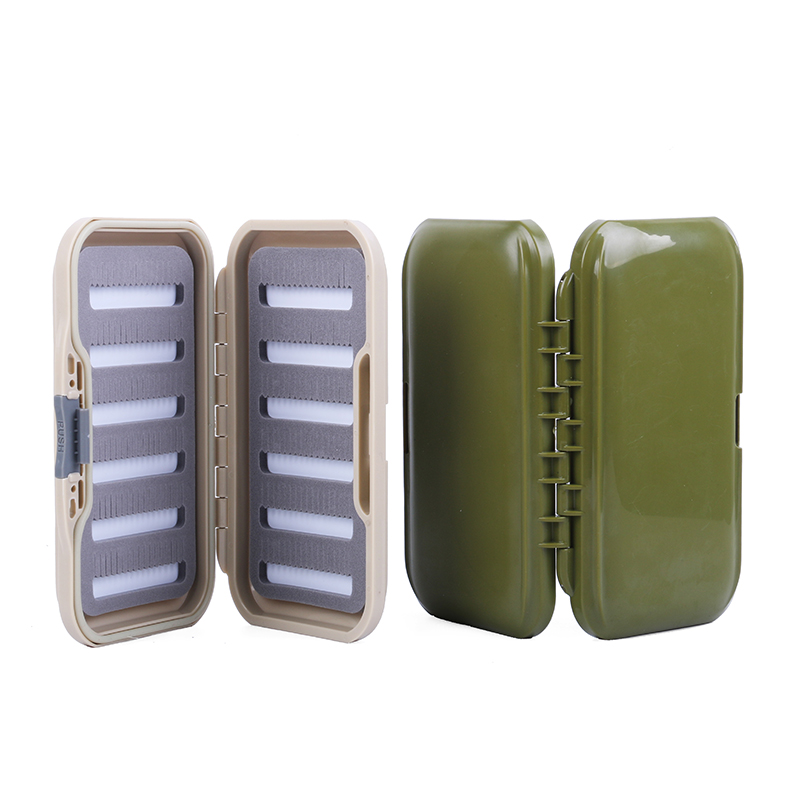 Multifunctional Slit Foam Fly Fishing Box Storage Case 158x86x26mm Plastic Portable Fly Tackle Boxes Army Green Khaki Color|Fishing Tackle Boxes| |  - title=
