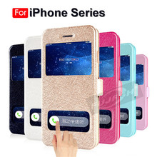 Luxury Front Smart Window View Leather Filp Case For iPhone 7 8 6S Plus 6 Stand Back Cover For iPhone 4 5S X XS MAX XR Case Capa fresh flower pattern pu leather cover case w view window for iphone 6 purple