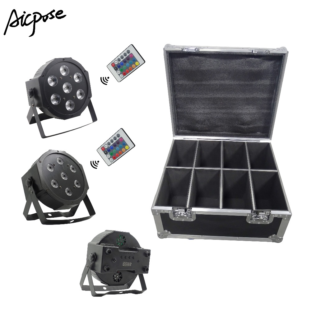 8Pcs 7x12W Par Lights  With Remote Control With 8 In 1 Flight Case RGBW 4in1 Flat Par Led DMX512 Disco Lights Professional Stage