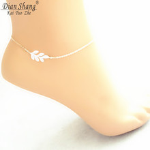 DIANSHANGKAITUOZHE Delicate Gold Chain Silver Leaf Anklets 2017 Minimal Foot Jewelry Stainless Steel Bijoux Femme Ankle Bracelet