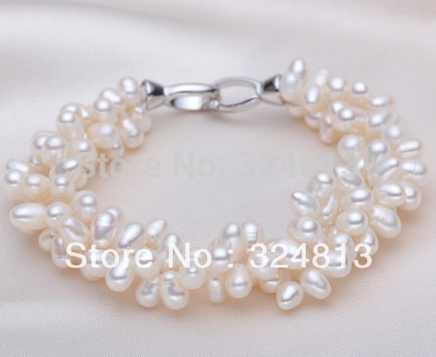 """5PC AAA 8-9MM ROUND SOUTH SEA GENUINE WHITE PEARL BRACELET 7.5-8/"""" 14K GP CLASP"""
