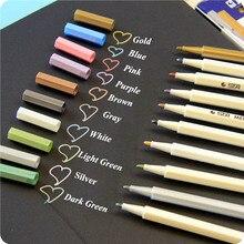 10 Pcs set Art Metallic Marker Pen DIY Scrapbooking Black Paper Crafts Album Pens Art Markers