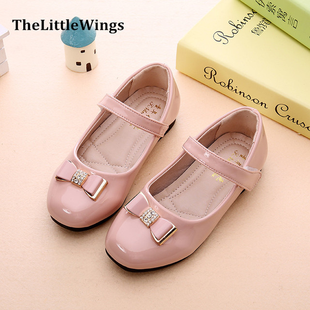 Fashion 2016 Autumn new girls party shoes chaussure flat princess Liang Pi kids wedding shoes school rhinestone super perfect Girl's Shoes