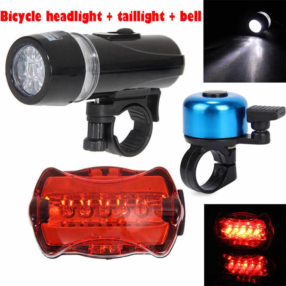 Set Waterproof 5 LED Lamp Bike Bicycle Front Head Light+Rear Safety Flashlights
