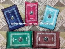 Softy material silk high quality muslim Travel pocket size protable prayer mat with compass