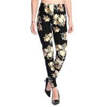 INDJXND-Pantalones elásticos con estampado Floral para mujer, pantalón a cuadros, a rayas, pata de gallo