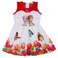 Summer Girls Mesh Dress Anna Elsa Dress Party Vestidos Teenagers Butterfly Print Princess Dress For Girls