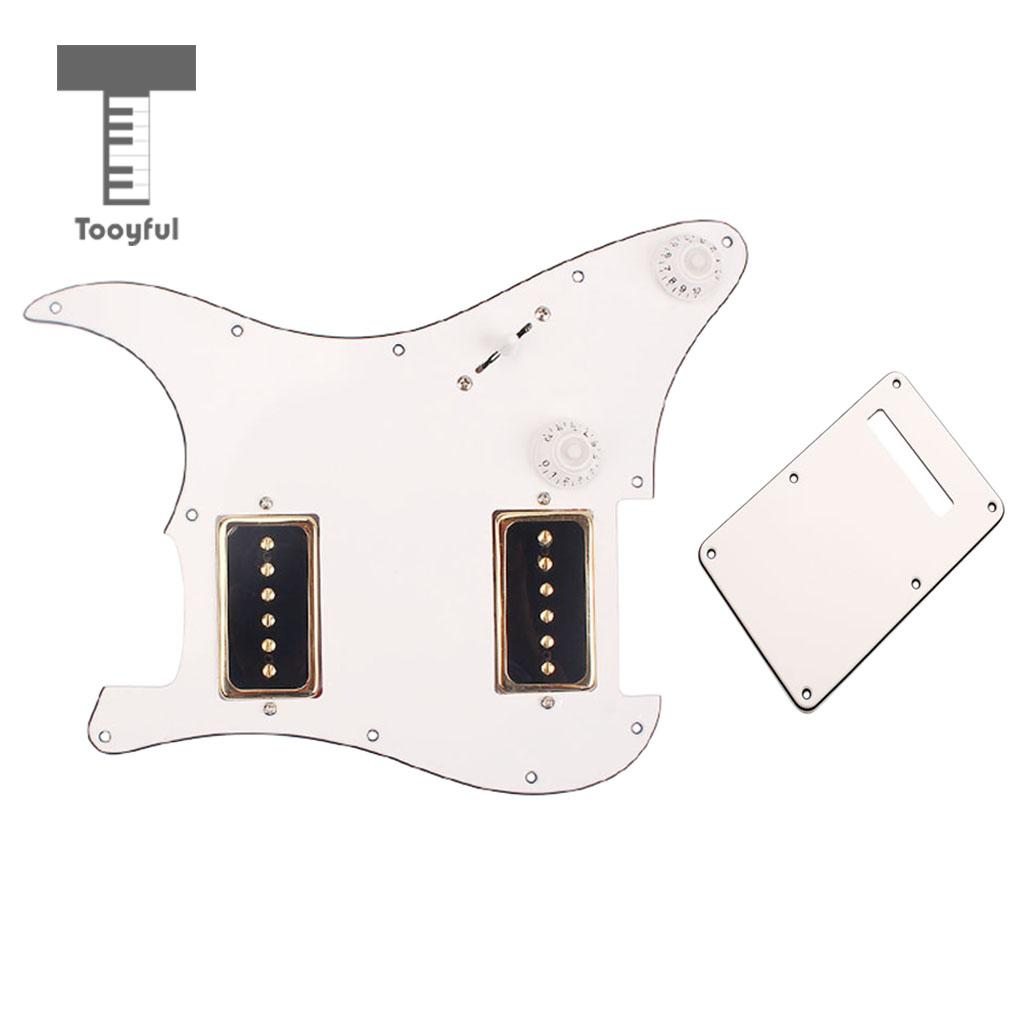 Tooyful 3PLY P90 Loaded Pickguard HH Humbuckers Alnico V for ST Strat Electric Guitar Parts 5pcs green pearl guitar pickguard sss 3ply 11 hole for electric strat replacement