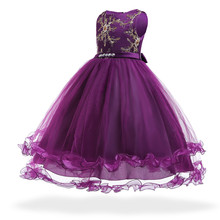 Free Shipping Full Lenght Child Party Dress 2019 New Style Purple Girl Flower Dresses Pageant Formal Kids Evening Gown Patchwork new wedding party purple formal flowers girl dress baby pageant dresses birthday cummunion toddler kids evening gowns custom