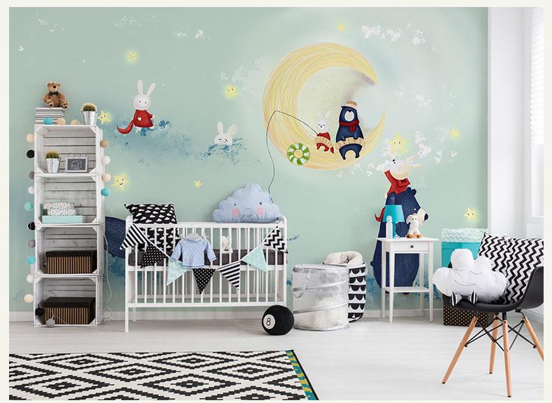 Babykamer Behang Konijn : Bacaz custom moon leuke beer konijnen muurschilderingen d muur