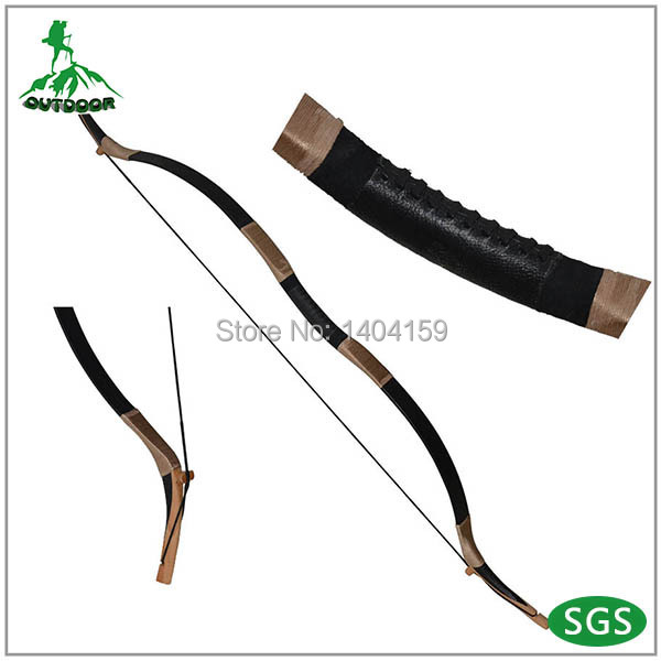 1pcs Handmade Traditional Chinese Longbow archery bow Mongolian bow Black Color 45lbs Cow Leather bow chinese ancient tradition of the revcurve bow of pure handmade outdoor archery hunting practice sport games wooden longbow gift