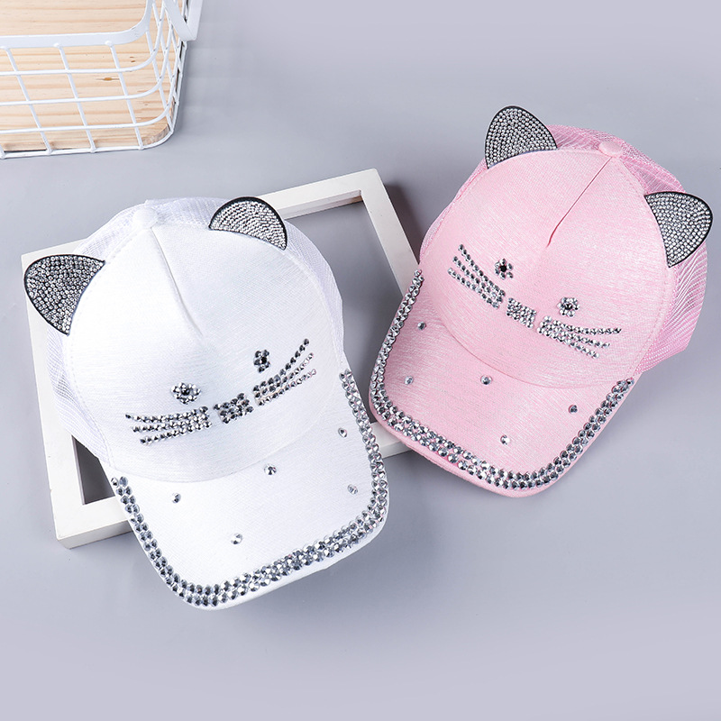 Creative  hat for spring Men and women personality eaves with diamond baseball cap sunshade net tide summer hats