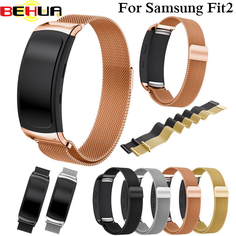 fd60fc38159 Pulseira Milanese Laço Magnético de Aço inoxidável Band Para Samsung  Engrenagem Fit 2 Fit2 Pro SM-R360 Inteligente Assista Bracelete Pulseiras  de Relógio da ...