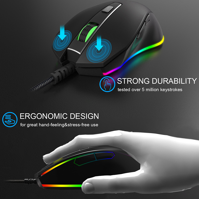 ONIKUMA CW60 8000 DPI Wired Gaming Mouse computer muis 6 Buttons USB Optical Mice Breathing LED Colors for Gamer PC MAC Notebook in Mice from Computer Office