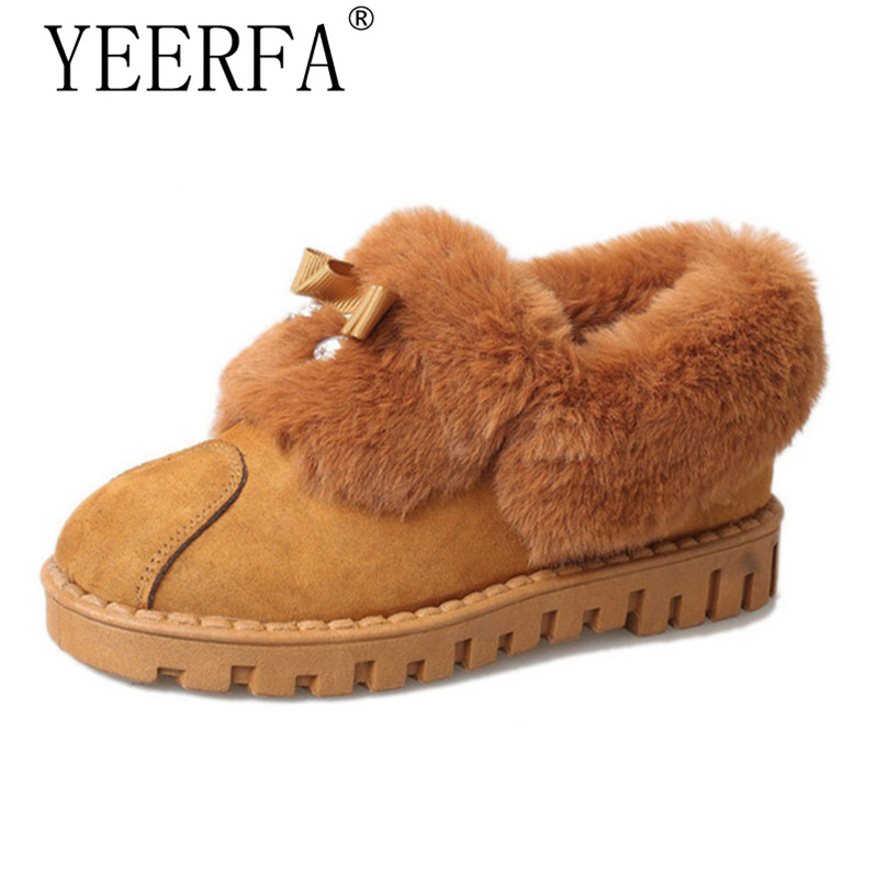 YIERFA Women Winter Boots Casual Warm Snow Boots New Shoes Woman Slip On Shoes For Women Bowtie botas mujer Platform Shoes 2015 new arrival fashion women winter snow boots warm ladies shoes bowtie slip on soft cute shoes purple color sweet boots
