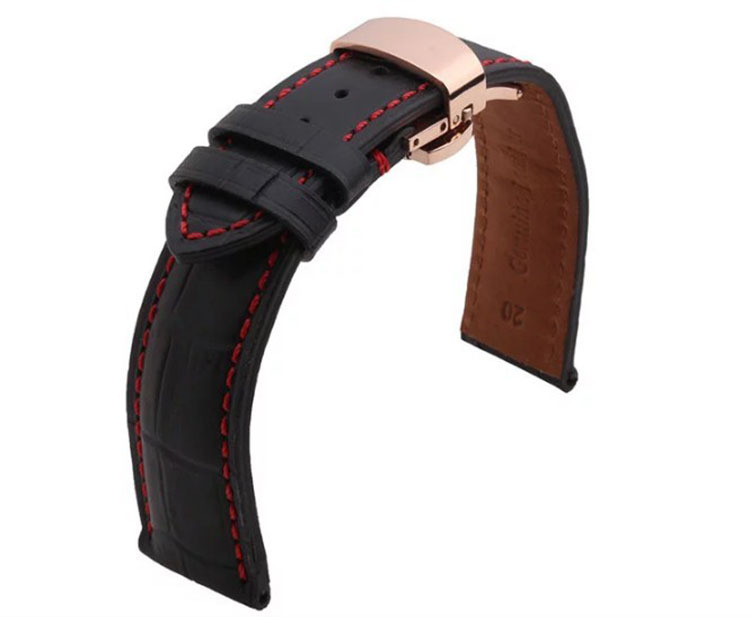 high quality genuine Leather Watchband 22mm 20mm Black with red stitched Strap fo rMen Watch bracelet  watch accessories