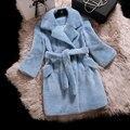 sheepskin shearling  coat 2015 Winter Turn-down Collar Regular Standard Wool Solid 0011