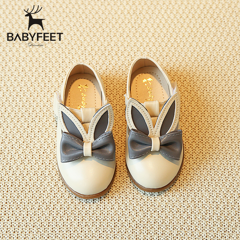 2017 Babyfeet Princess shoes Party shoes for girl infant kids PU Leather Children shoes Rabbit ears bow toddler girl dress shoes
