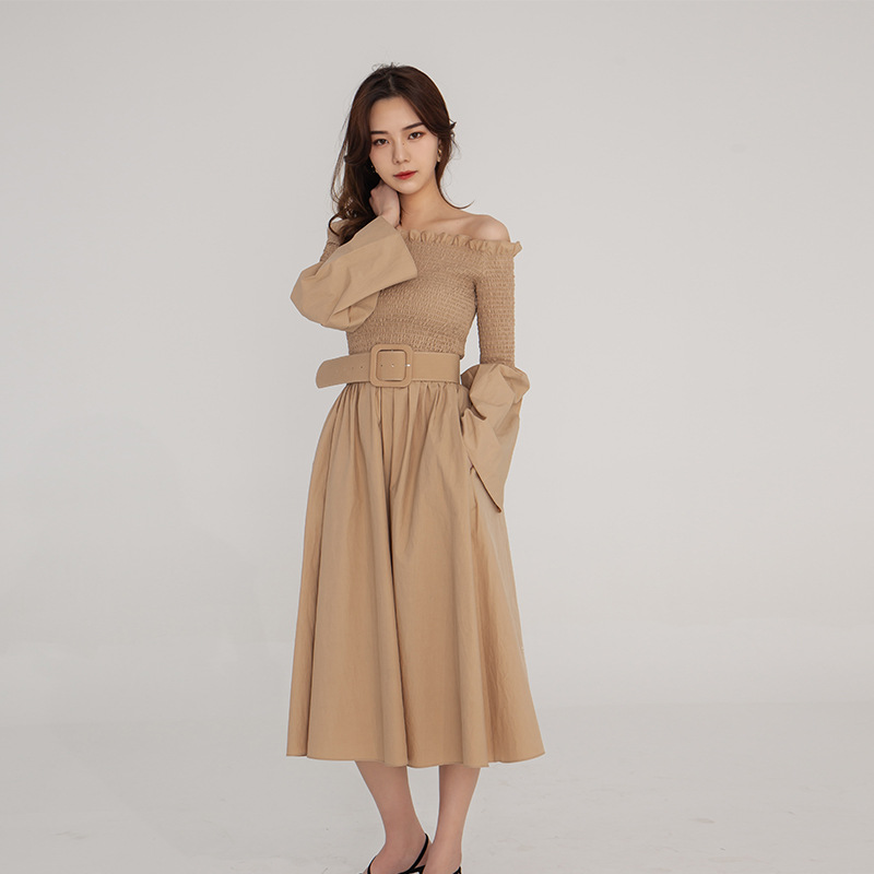 Ladies Retro Dress Slash Neck Long Sleeves Black Khaki Office Dress Audrey Hepburn 60s Dresses Women