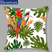 Bird and Flower picture cushion cover cheap pillow case 45*45 thick pillow cover 3D print decorative pillows cotton kussenhoes floral bird print decorative pillow case