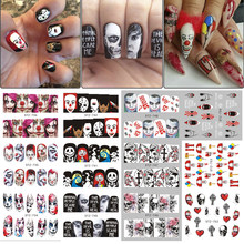 25pcs Halloween Designs Water Transfer Stickers Skull Head Vampire Rose Nail Art Decals Nail Art DIY Decorations TRSTZ731-755-1(China)