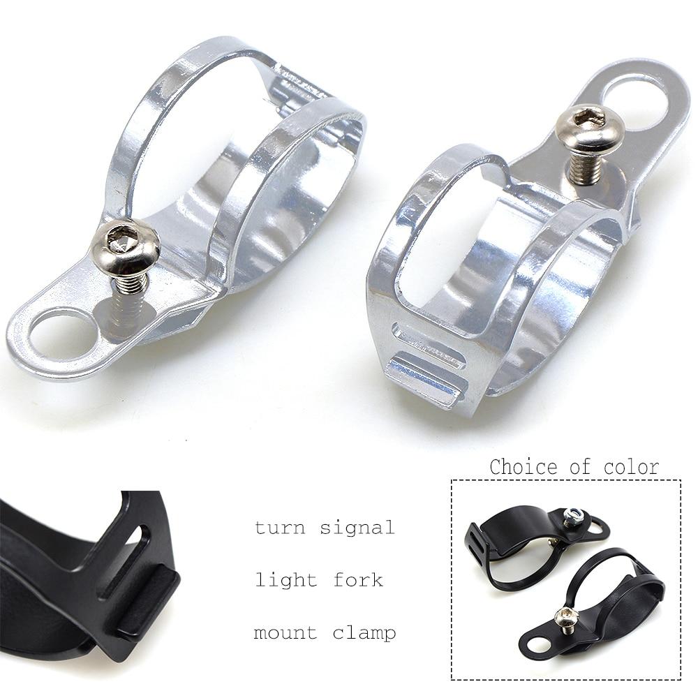 30-45mm Fork Ear Clamp Motorcycle Turn Signal Light Mount Brackets Holder Chrome