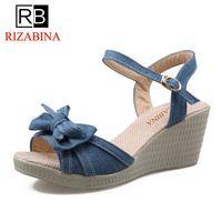 RizaBina señoras tacones altos sandalias mujeres Sweety Bowtie tobillo Correa Peep Toe zapatos mujer plataforma suave calzado tamaño 34 -39