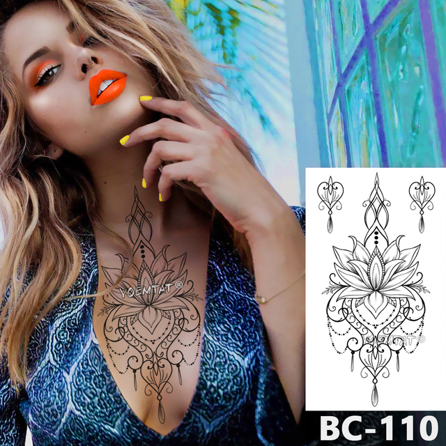 1 Sheet Chest Body art Tattoo Temporary Waterproof tattoo Jewelry Lace Decal Waist Art Tattoo Sticker for Women