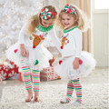 2016 Fashion Infant Girl Christmas Clothes Sets Suit Xmas Elk Pattern Vestido Clothes Striped Pants Princess Tutu Birthday Cloth