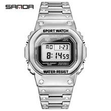 SANDA мужские часы Топ бренд Роскошные светодиодные цифровые часы мужские модные водонепроницаемые спортивные часы мужские часы Relogio Masculino