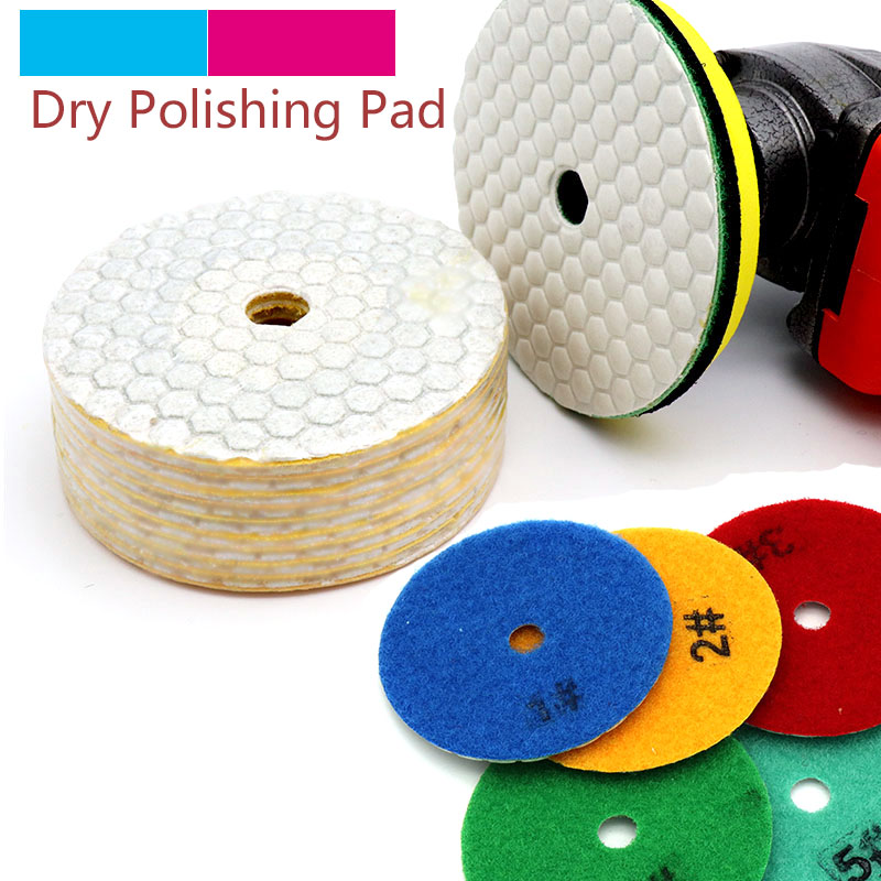 5pcs 3/4inch Dry Grinding Disc Quick Change Polishing Pads + 1pcs stick for Granite Marble Stone Concrete Floor Air Sander Tools
