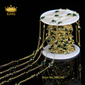 6mm 5Meter/Lot Gold Plated Wire Wrapped Beaded Rosary Chain Faceted Coin Glass Beads Jewelry Chain for Necklace Making LS070