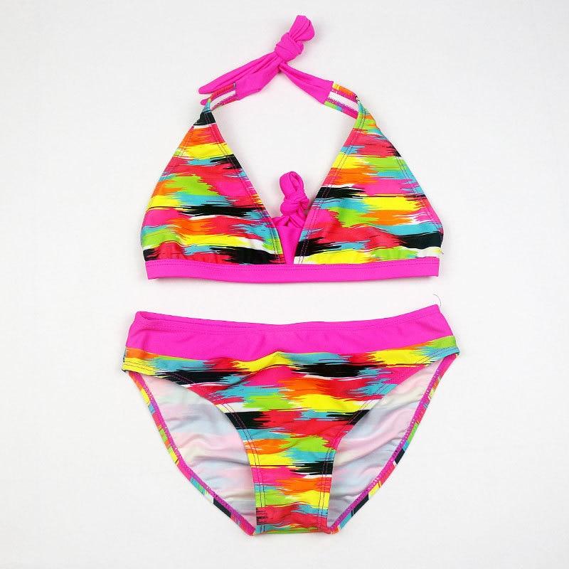 New Girl Rainbow Color Two Pieces Bathing Suit Girls Tight Elastic Stripe Swimwear Girl Split Beach Swimsuit Biquini Infantil