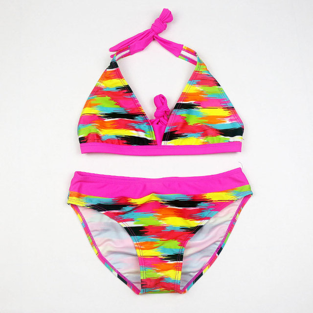 dec36b8744768 New Girl Rainbow Color Two Pieces Bathing Suit Girls Tight Elastic Stripe  Swimwear Girl Split Beach Swimsuit Biquini Infantil