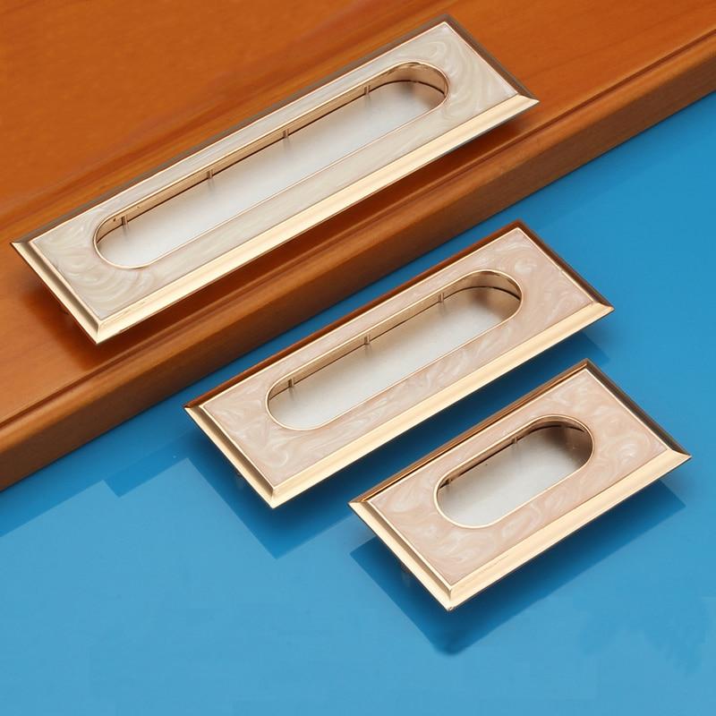 Hole Pitch CC 64/96/128mm Zinc Alloy White Jade hidden handle modern handle Kitchen Furniture Handle bedroom drawer handle