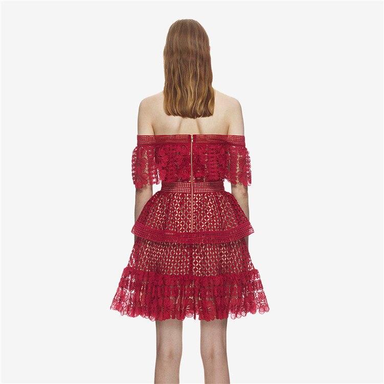 Nouveau SP avec été un mot led hors la épaule épissage falbala F0438 évider robe rouge - 3