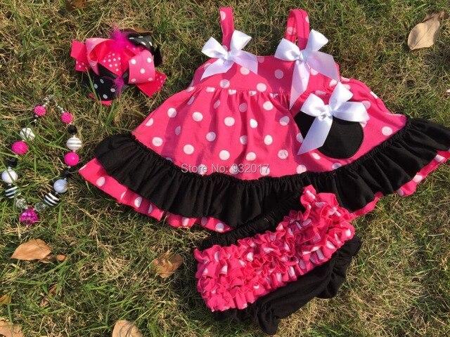Новорожденной девочки одежда розовый и черный девочки swing top качели Mincky Мышь костюмы с соответствующими ожерелье и лук набор