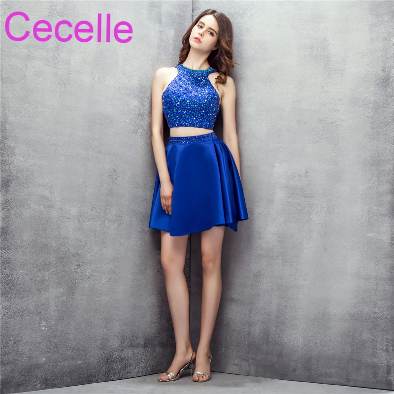 Royal Blue Two Pieces Short   Cocktail     Dresses   Fully Crystals Top Satin Skirt Open Back Juniors Informal Short Prom Party   Dress