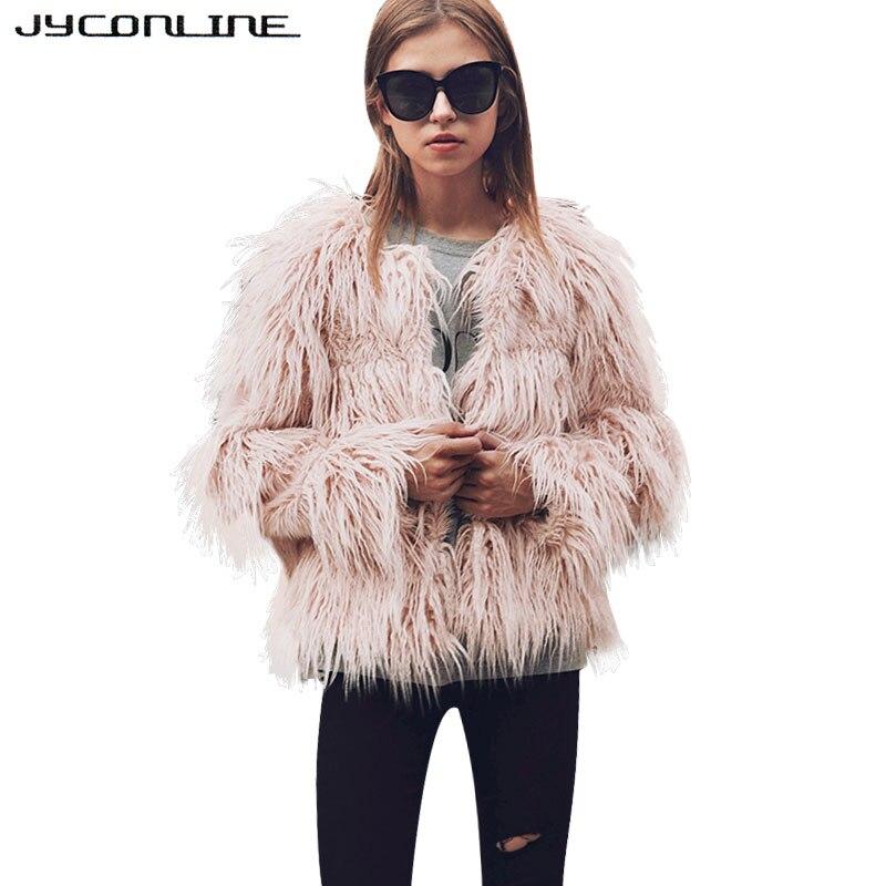 JYConline Soft Faux Fur Coat Women Fluffy Warm Long Sleeve Female Outerwear Winter Fur Coat Jacket Hairy Overcoat Large Size 3XL