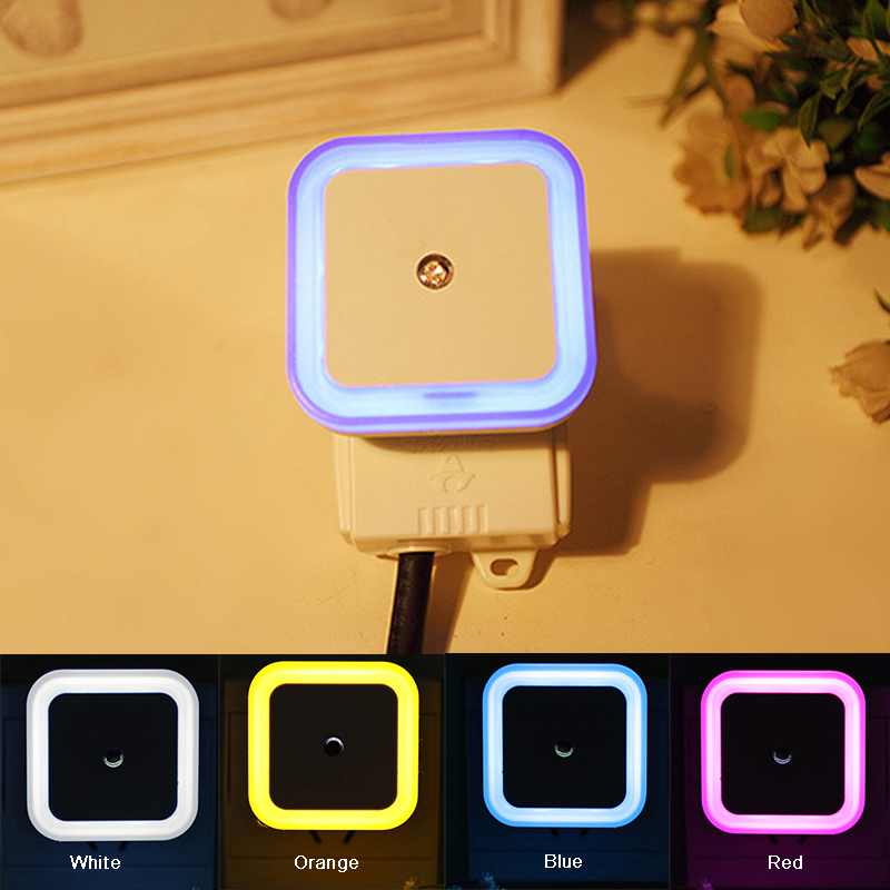 EU Mini LED 0.5W Night Light Control Auto Sensor Baby Bedroom Lamp Novelty Square White Yellow AC110 220V LED Night Light ...