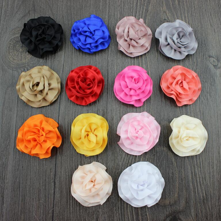 50pcs/lot mix colors cabbage Ribbon rosette puff flowers,fabric appliques 1.7inch satin flower, Clutch pin, stick pin supplies