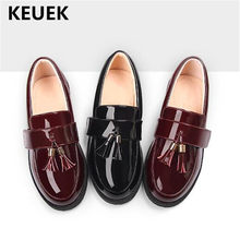 New Children Dress Shoes Kids Black Tassel Loafers Baby Girls Leather Shoes Princess Toddler Low-heeled Patent Leather 041(China)
