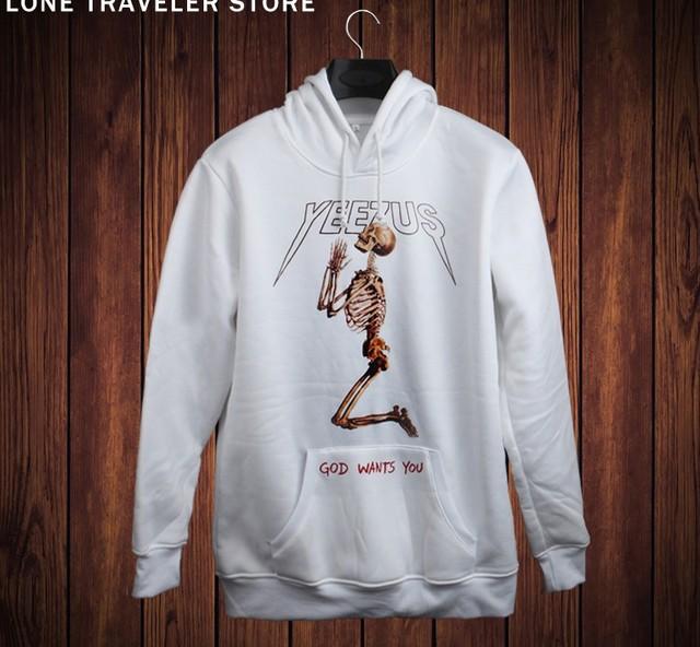 2016 hip hop hoodies moletom com capuz kanye west yeezus crânios humanos moletom 3d Adicionar Pano macio cochilo homens sportswear pullover yeezy