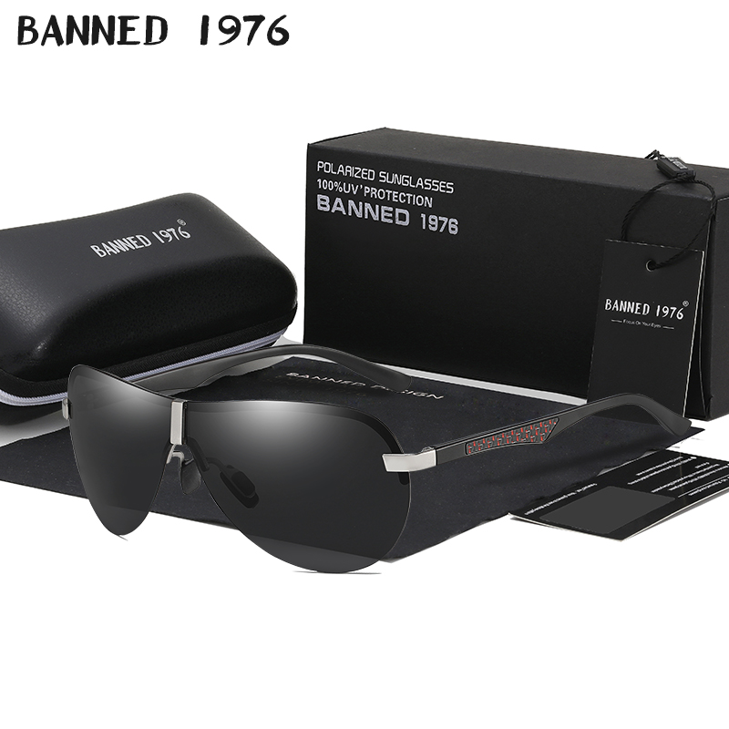 BANNED 1976 Polarized Sunglasses Men Driving Aluminum Magnesium Sun Glasses man Brand Square Unisex male Travel Eyewear UV400 image