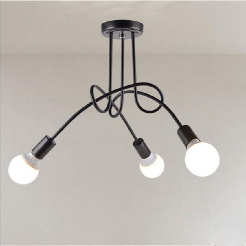 Vintage retro lighting ceiling lamp iron distorted pipe ceiling Restaurant bar Simple LED light fixture vintage retro new pendant light lamp bar shop lighting led lighting ceiling lamp fixture e27 90 260v three colors free shipping
