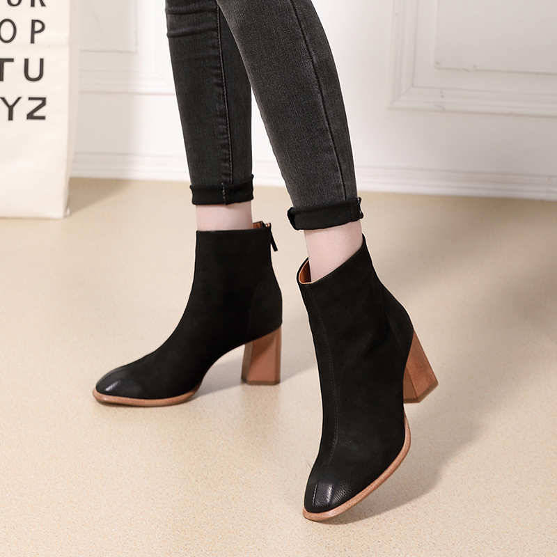2018 VALLU Woman Boots for Autumn Winter Shoes Genuine Leather Square Toes Zipper High Heel Lady Ankle Boots Female Warm Booties2018 VALLU Woman Boots for Autumn Winter Shoes Genuine Leather Square Toes Zipper High Heel Lady Ankle Boots Female Warm Booties